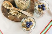 Healthy Food: Homemade Fresh Yogurt With  Blueberries And Muesli Cornflakes