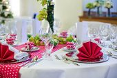 Elegant Table Set  For Wedding Or Event Party In Pink With Dots.