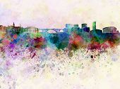 Luxembourg Skyline In Watercolor Background