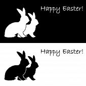 picture of uncolored  - Monochrome silhouette of two Easter bunny rabbits - JPG