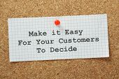 picture of statements  - Make It Easy For Your Customers To Decide on a cork notice board - JPG