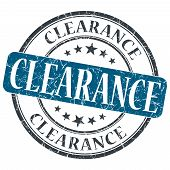 Clearance Blue Grunge Round Stamp On White Background