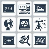 Vector School Subjects Icons Set: Algebra, Ict, Geometry, Geography, Ecology, Astronomy, Physics, Bi