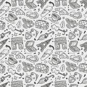 seamless doodle Paris pattern