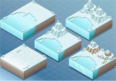 Isometric Arctic Terrain With Iceberg And Mount