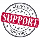 Support Red Grunge Round Stamp On White Background