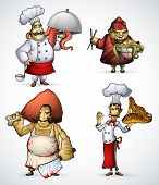 Set of four chefs with strange and exotic dishes