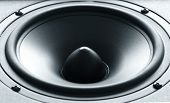pic of membrane  - Closeup view of huge black bass speaker with high quality membrane - JPG