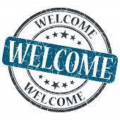 Welcome Blue Grunge Round Stamp On White Background