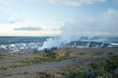 Smoking Crater Of Halemaumau Kilauea Volcano In Hawaii Volcanoes National Park On Big Island