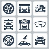 Vector Car Wash Icons Set