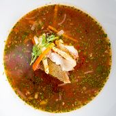 Hot delicious tomato soup with fish and rice served with leek and parsley in a white bowl