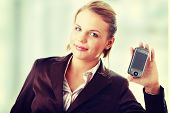 Attractive business woman smiling while using a pda.