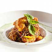 Shrimps with Buckwheat Noodles and Dijon Sauce