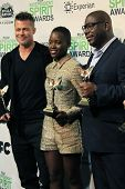 LOS ANGELES - MAR 1:  Brad Pitt, Lupita Nyong'o, Steve McQueen at the Film Independent Spirit Awards at Tent on the Beach on March 1, 2014 in Santa Monica, CA