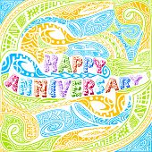 foto of tiki  - easy to edit vector illustration of tiki style Happy Anniversary typography - JPG