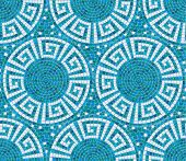 Seamless Mosaic Pattern -  Blue Ceramic Tile - Classic Geometric Ornament