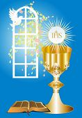 foto of communion-cup  - background with characteristic symbols of holy Communion - JPG