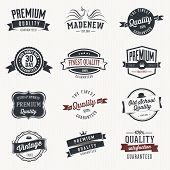 Set of vector stickers and ribbons - retro style