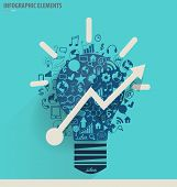 Creative idea in Light bulb as inspiration concept with drawing chart and graphs business strategy p