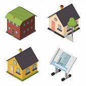 Isometric Retro Flat House Icons and Symbols set Isolated vector