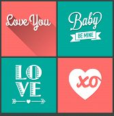 vector set of love quotes
