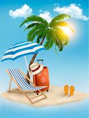 Seaside view with a palm tree, beach chair and parasol. Summer vacation concept background. Vector.