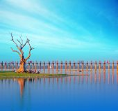 Burma Myanmar U Bein teak bridge. Mandalay travel tourist destination landmark