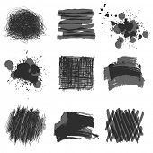 grayscale hand drawn design elements
