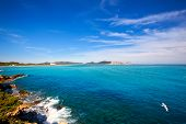 Ibiza Platja des Codolar and Cap des Falco at Balearic islands of Spain