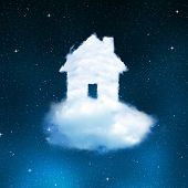 The house from clouds on night sky