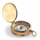 Gold compass on white isolated background. 3d