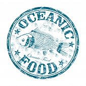 Oceanic food grunge rubber stamp