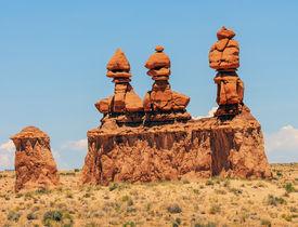 pic of hoodoo  - Three Sisters Hoodoos Goblin Valley State Park Rock Canyon San Rafael Desert Utah USA Southwest - JPG