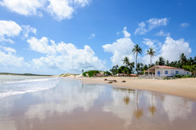 picture of rn  - Beach with sand dunes and house Pititinga Natal  - JPG