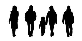 stock photo of ordinary woman  - black silhouettes of ordinary men women and children walking outdoor in winter clothes front and back views - JPG