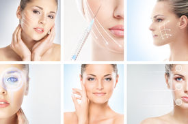 stock photo of cosmetology  - Collection of female portraits with the different effects  - JPG