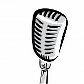 retro microphone silhouette vector illustration