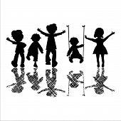 Постер, плакат: Счастливые детки с полосатые тени
