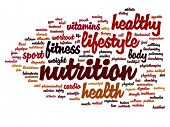 High resolution concept or conceptual abstract health and nutrition word cloud or wordcloud on white