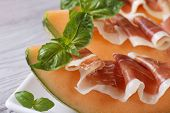 Pieces Of Melon With Ham And Basil Macro Horizontal
