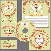 Wedding design  template set.Pigeons,autumn wreath