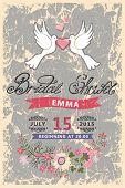 Retro Bridal shower invitation.Pigeons,ribbon,flowers