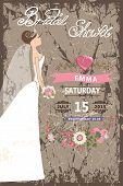 Retro Bridal shower invitation.Bride in long dress,flowers