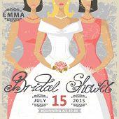 Retro Bridal shower invitation.Bride and bridesmaids