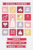 Bridal shower  invitation with Flat icons,wedding dress