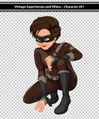 Illustration of a male superhero in brown costume