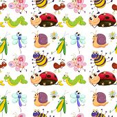 Illustration of a seamless with cute insects
