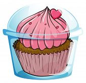 Illustration of a cupcake in plastic container