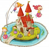 Illustration of many children and a castle